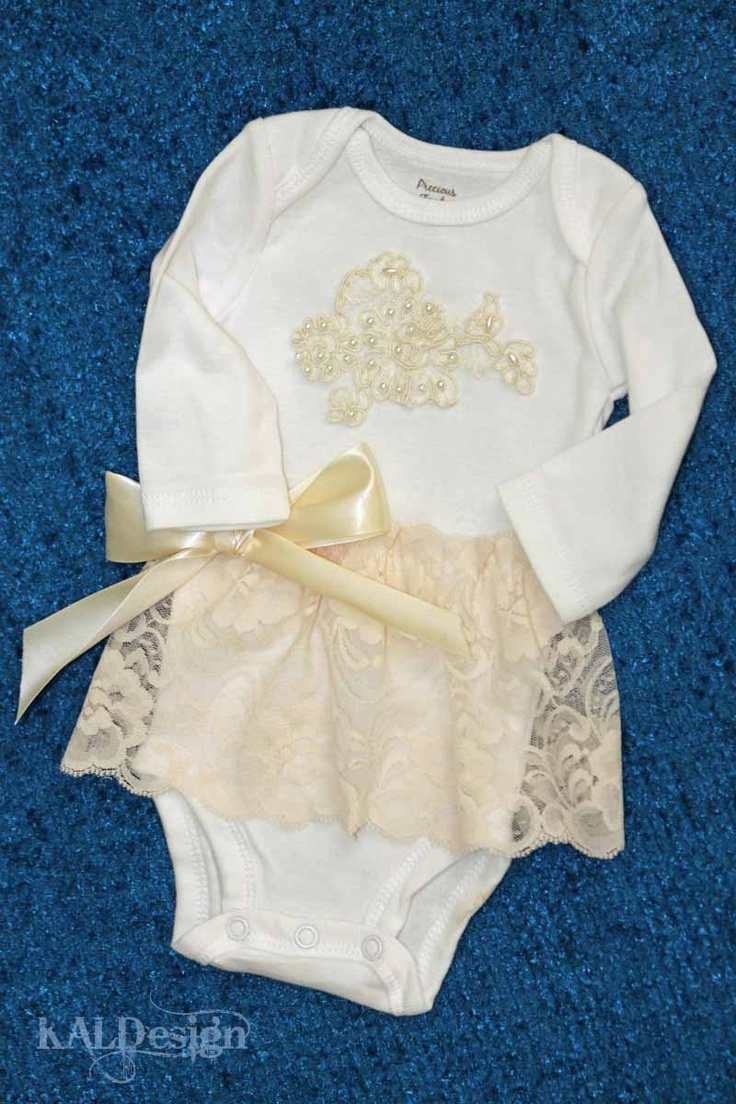 Onsie for a special baby shower....vintage bridal lace.