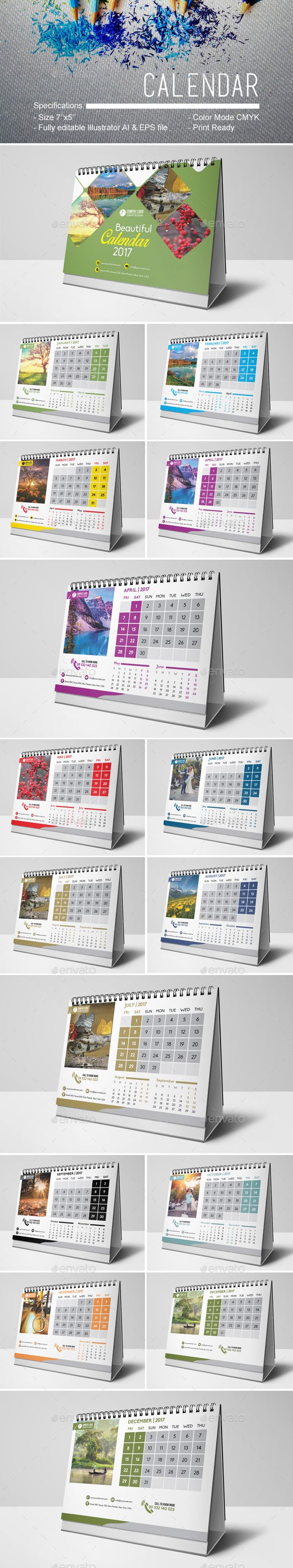 Calendar 2017 Template Vector EPS, AI Illustrator