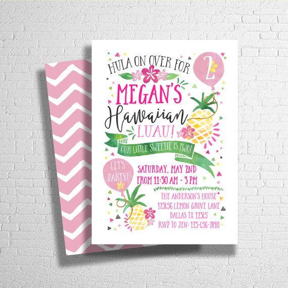 Pineapple Birthday Invitation Luau Invitation by ohbejoyfulshop