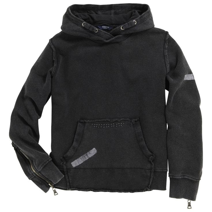 Faded black fleece sweatshirt with a black jersey-lined hood. Long sleeves with zip cuffs. Large front pocket. Rolled edges with frayed trims. - 121,00 €