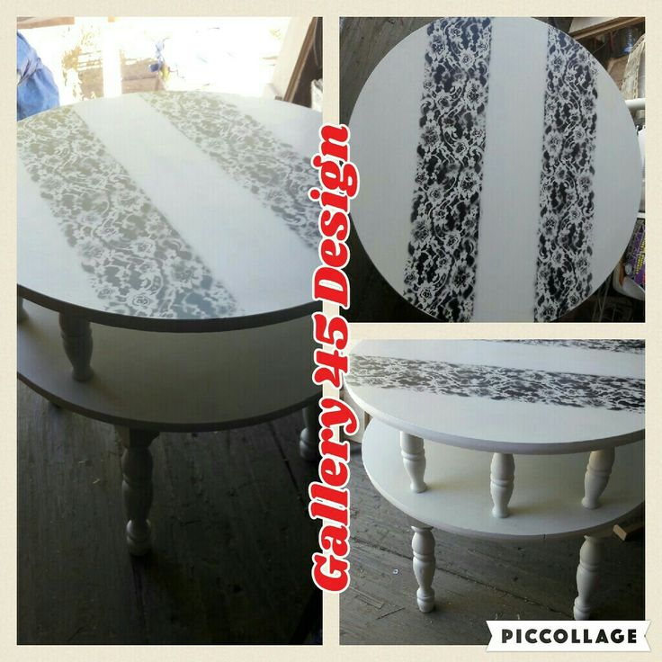 Refinished ended table with lace accent.