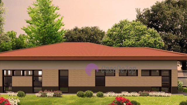 Locuința unifamiliala moderna Tetris organizata functional pe parter- Fatada secundara| Modern single-family dwelling 140.00 sq.m-  Secondary facade| Etichete: proiecte case, proiecte case mici, proiecte case mici parter, case mici, proiecte case moderne, case moderne