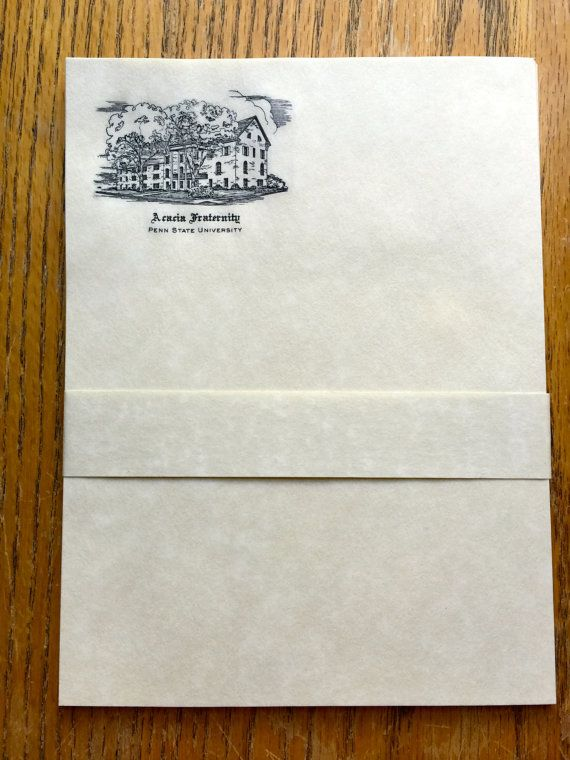 Vintage Acacia Fraternity Stationary Penn State by LeftoverStuff