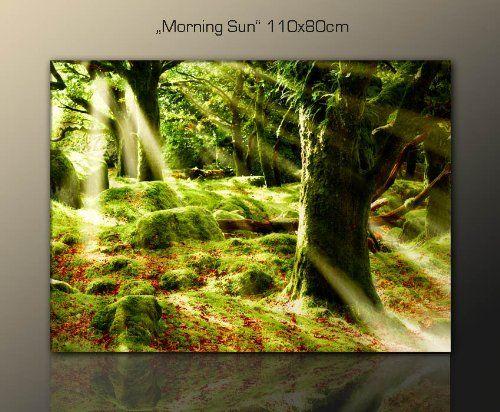 top angebot wellness spa entspannung wandbild baumbild morning sun 110x80 wald stille ruhe. Black Bedroom Furniture Sets. Home Design Ideas