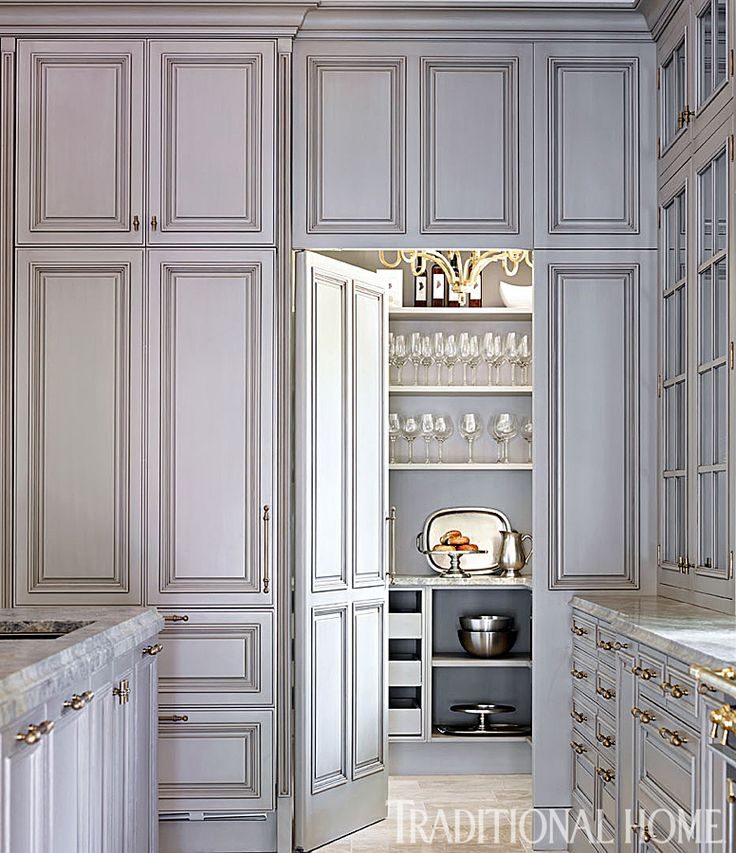 gray cabinets, brass hardware and marble countertops + amazing pantry