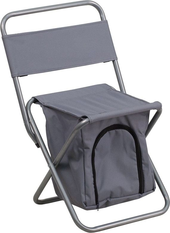 Kids Folding Camping Chair With Insulated Storage In Gray. This Folding  Chair Is The Perfect