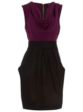 Purple & Black Cowl Neck: Dresses Black, 2 In 1 Dresses, Burgandi Dresses, Black Accesories, Black Skirts, Cowls Neck Dresses, Bows, Black Cowls, Purple Cowls