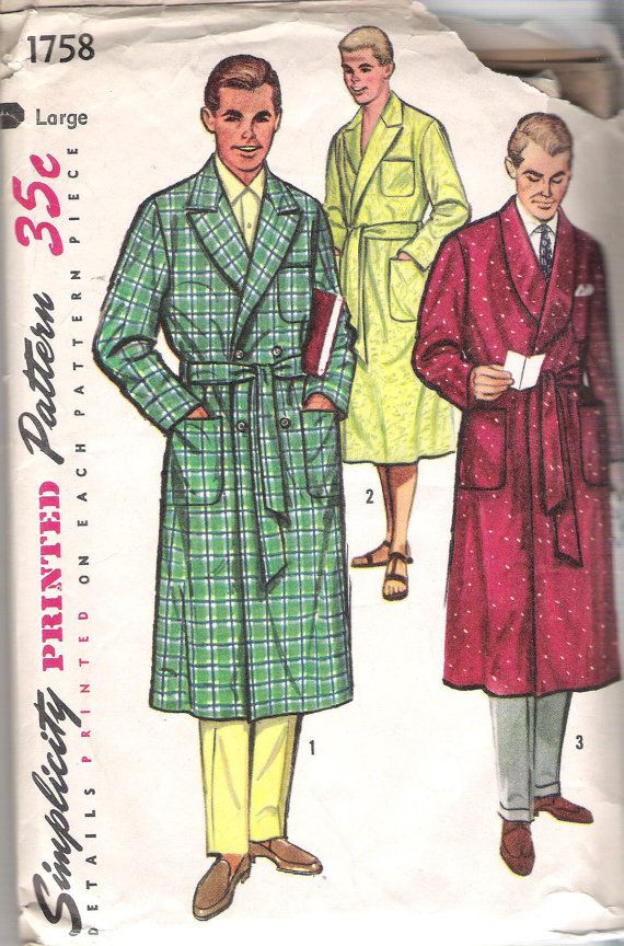 Simplicity 1758 Vintage 1950's Men's Robes and Beach Robe; Size Large