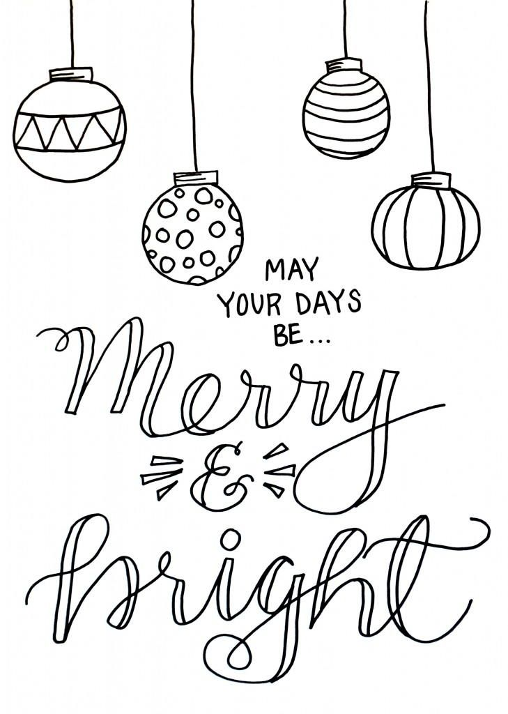Merry and Bright Christmas Coloring Page Merry christmas