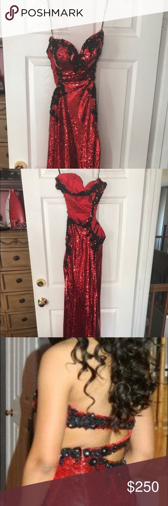 Prom dress, gala Gown, sequin dress, red, black Red, black, sequin, prom dress, ballroom gown Dresses Strapless