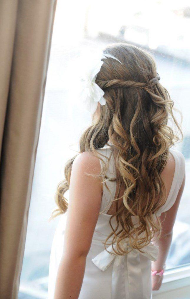 schicke Brautfrisur-Curlies ideen für lange Haare-offen fallend