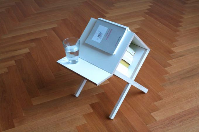 This little item, aptly called Buchtisch (German for Book Table), by Germany based design firm Studio Voigt Dietrich is a lovely companion to a reading chair. Small in size, it can fit in any space, even a tiny one. The unusual shape of the piece allows you to use it as a side table, book storage and also a bookmark. It will hold your teacup as well as your curent page: Studios Voigt, Patio Furniture, Books Tables, Furniture Pieces, Irons Furniture, Books Lov, Modern Patio, Books Storage, Voigt Dietrich