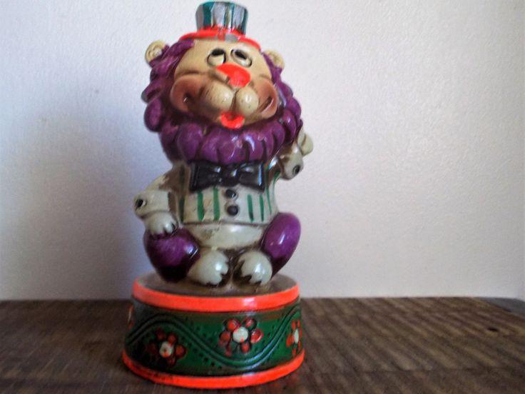 Vintage Pottery Purple Circus Lion Savings Bank by ObjetLuv on Etsy