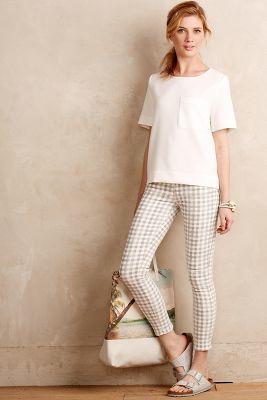 Paige Verdugo Ankle Skinny Jeans Gingham 31 Petite Pants