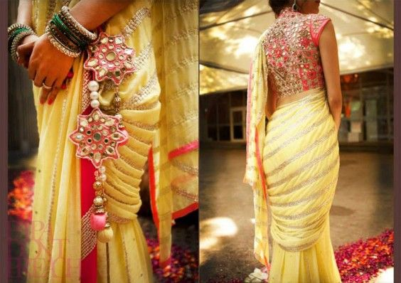 yellow_mirror_work_saree