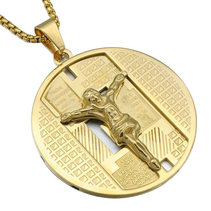 HIP Christian Believers Casting Gold-Color Stainless Steel Bible Verse INRI JESUS Piece Round Pendants Necklaces for Men Jewelry