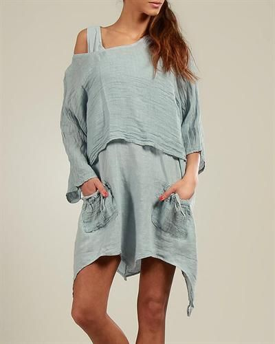 100% Lin Asymmetrical Hem Dress Made In Italy