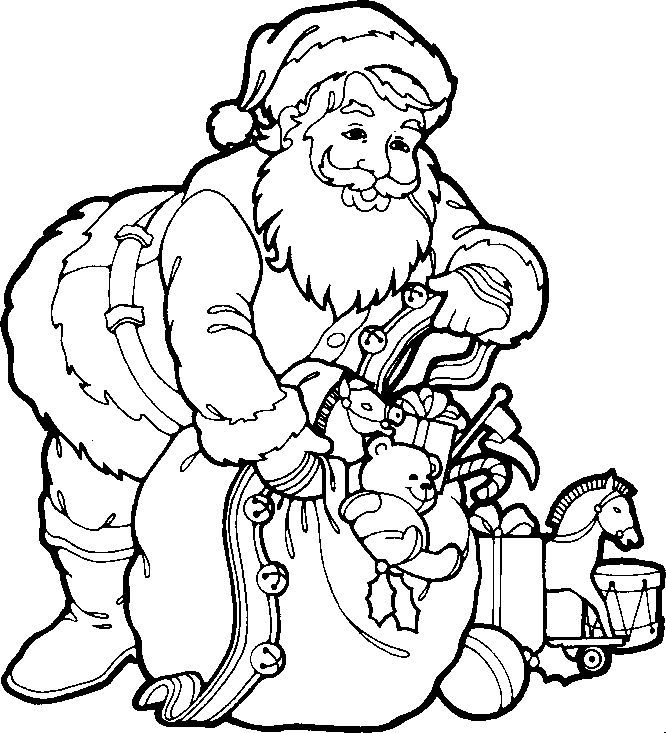 santa claus kids coloring pages and free colouring pictures to print - Christmas Coloring Pages Kids