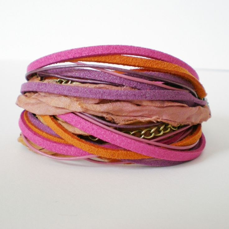 boho wrap bracelet, silk wrap bracelet, pink orange purple bracelet, multistrand cuff, hippie bracelet, boho wrap, gift for her by jcudesigns on Etsy