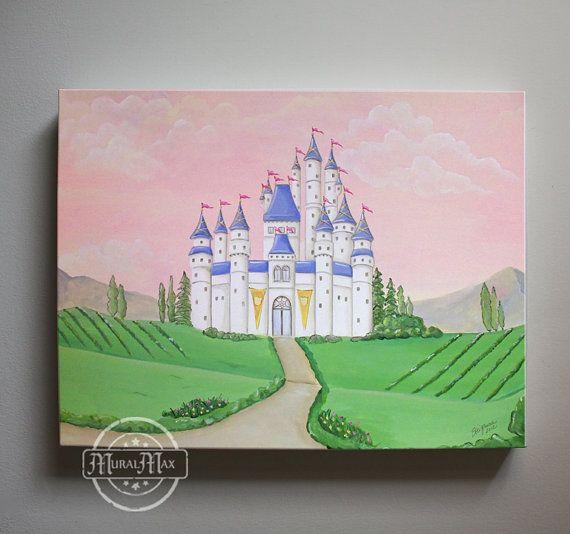 Girls nursery - princess - canvas art, Baby Nursery-  Princess Castle 12x 16 fairy tale princess art  Disney princess