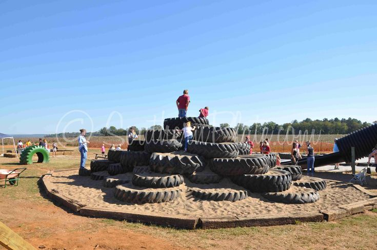 Incredible sand pit play area!  tire art on the playground | ... sitting duty as the kids took some time on the big farm playground