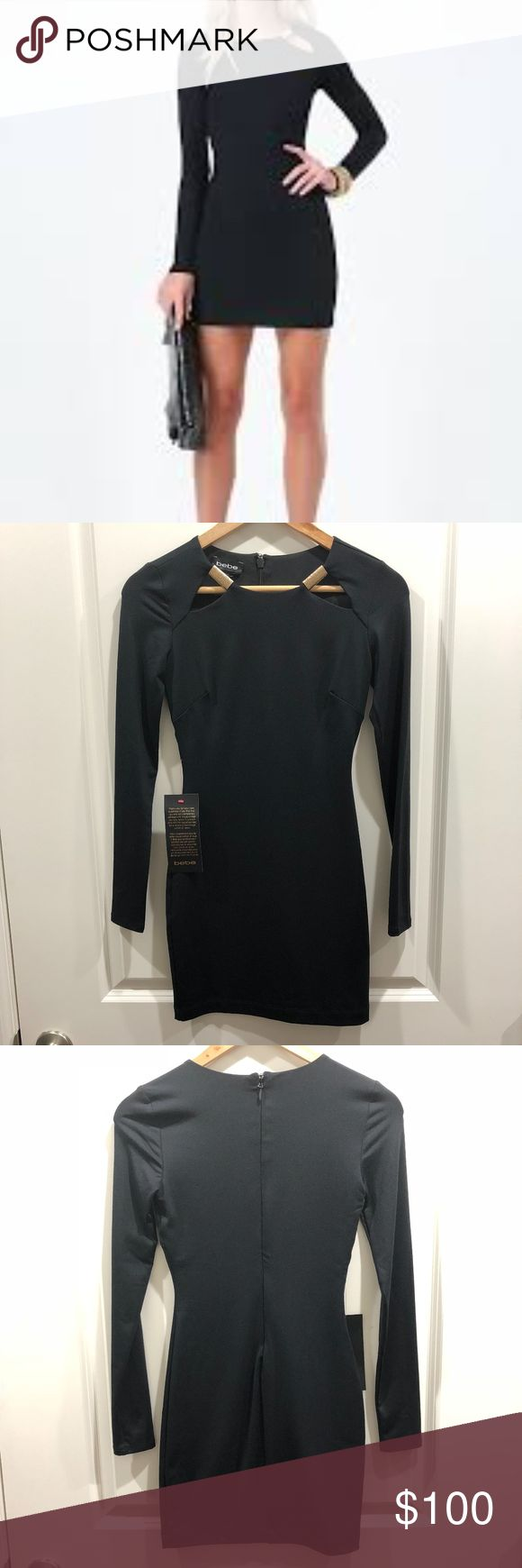 "Bebe • Long Sleeve Front Keyhole Dress Size XXS Minimalist dress in a supple jersey. Features sleek neckline cutouts, each accented by a luxe goldtone bar. Long sleeves. Hidden back hook-and-eye and zip closure. Partially lined.  • Armpit to Armpit: 22.5"" • Length: 28.5"" • Sleeve length (armpit to wrist): 28.5"" • Condition: New With Tags • Measurements are approximate when laid flat • Smoke/pet free home bebe Dresses"