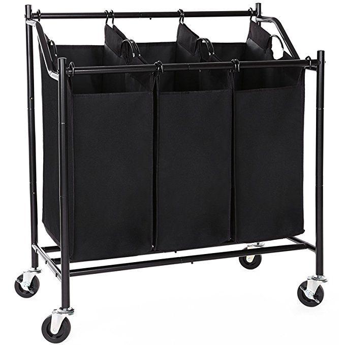 Songmics 3 Bag Rolling Laundry Sorter Cart Heavy Duty Sorting