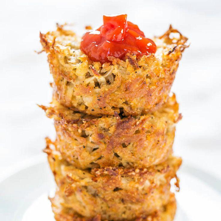 Baked Parmesan Hash Brown Cups - Fitnessmagazine.com replace potato with spaghetti squash