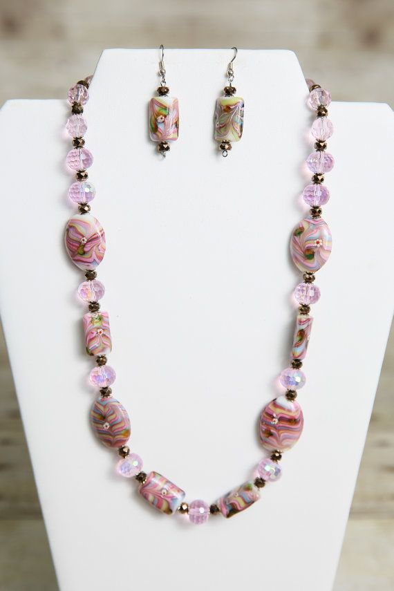 Pink Blue Green and White Lampwork and by jewelrystyleandmore, $28.00  #jewelry #bead #beaded #beadedjewelry #handmade #forsale #etsy #jewelrystyleandmore #necklace #earrings #glassbeads #lampwork
