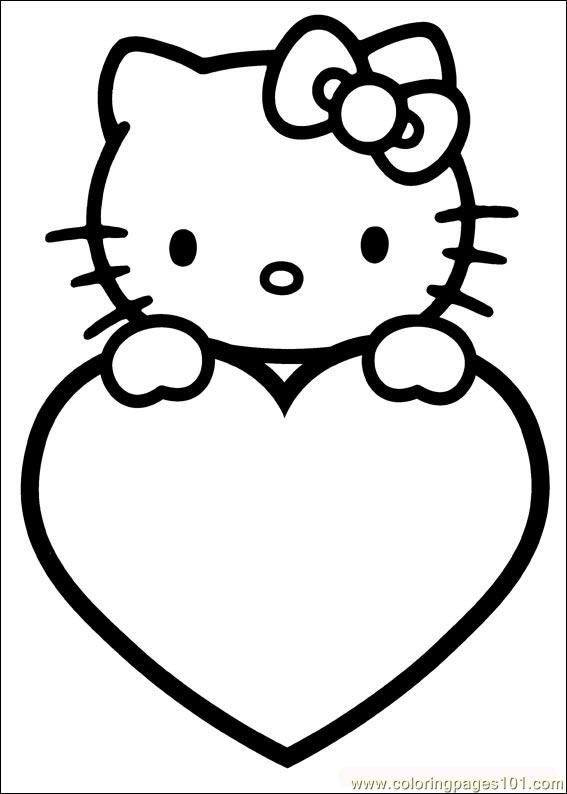 valentines coloring pages free printable coloring page valentines day 09 cartoons valentin valentine coloring pageshello kitty - Coloring Pages To Print Of Hello Kitty