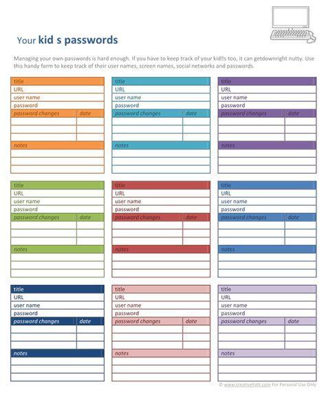 CreativeHatt: Password Organizers: Free Printables