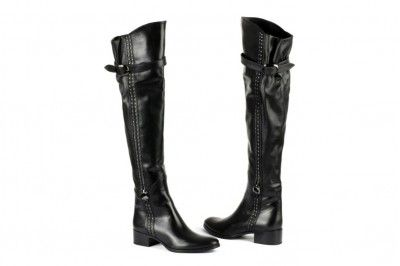 Le Pepe black leather thigh-high boots