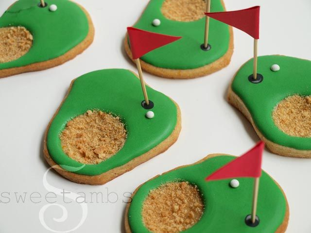 These golf cookies are so simple to make and I think they're pretty cute, too!Here's what you'll need for this project:  Roll out cookie dough (my Orange Vanilla Spicecookie recipeis available in mytutorial shop) 3″ round cutter (I lik