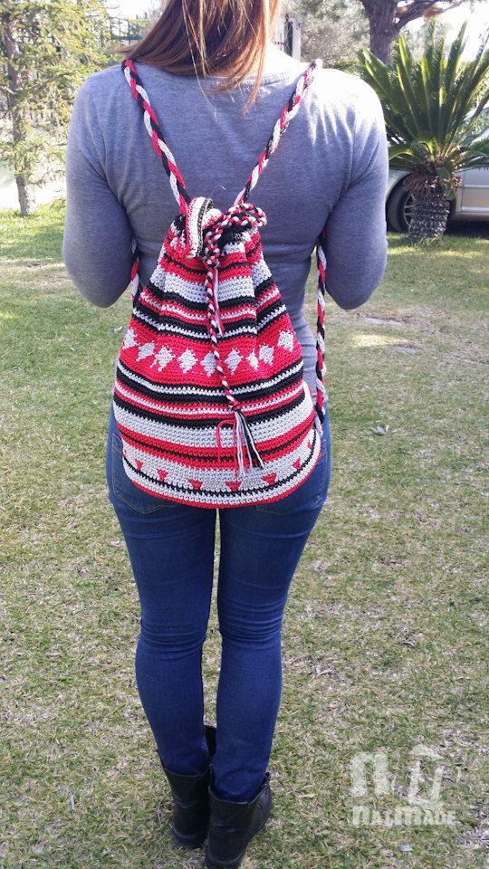 Crochet backpack,crochet rucksack,crochet bag,mochilla backpack by NatmadeCrafts on Etsy