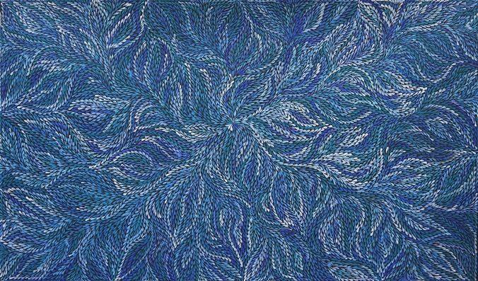 Yam Leaf, Dulcie Long Pwerle 150x90 cm   #AboriginalArt