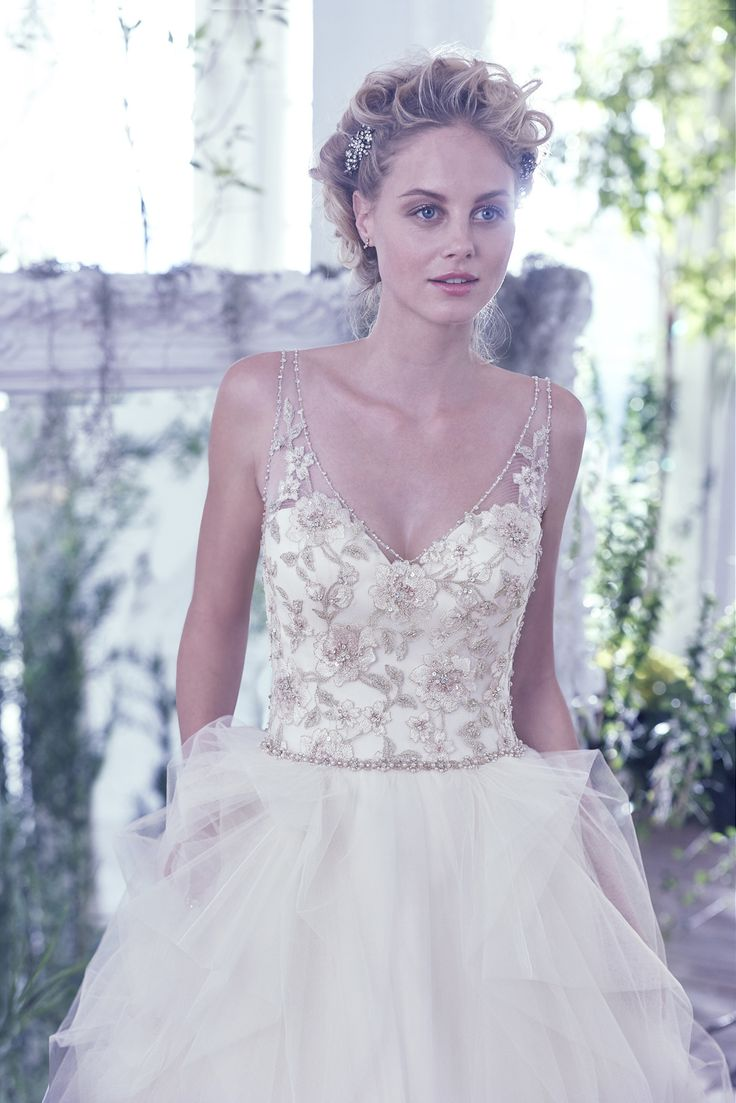 Maggie Sottero 2016 Lisette Carlotta Wedding Dress - Gold embroidered illusion bodice over dramatic tulle skirt - Click to read more about this dress