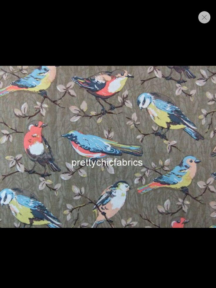 Cath Kidston garden birds in brown/olive cotton duck for curtains