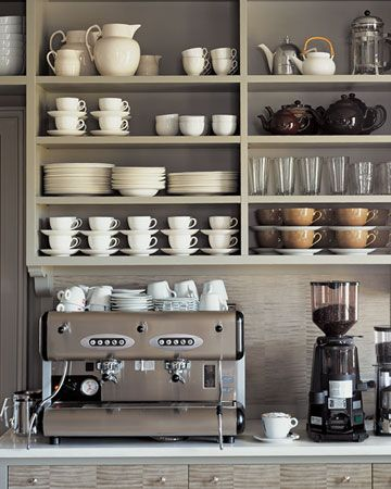 Build in a stylish coffee station into your kitchen to create a