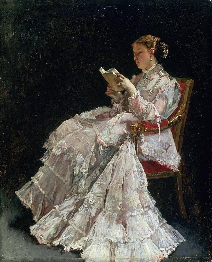 """""""La lectora"""" (1860). Alfred Emile Léopold Stevens (Bruselas, 11 de mayo de 1823 – París, 29 de agosto de 1906) fue un pintor belga. Se le conoce como el Gerard ter Borch francés, en homenaje a su talento para la representación de los pequeños detalles y telas suntuosas."""