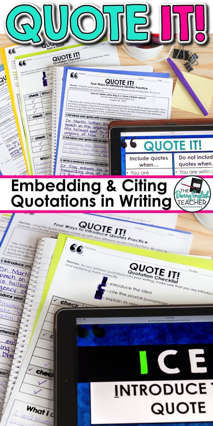 Embedding Quotes: A Common Core Lesson About Writing with Quotations    Writing instruction [ 1472 x 736 Pixel ]