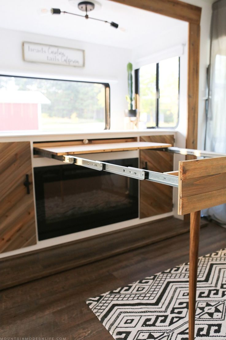 Diy rv interiors - Space Saving Diy Pull Out Table