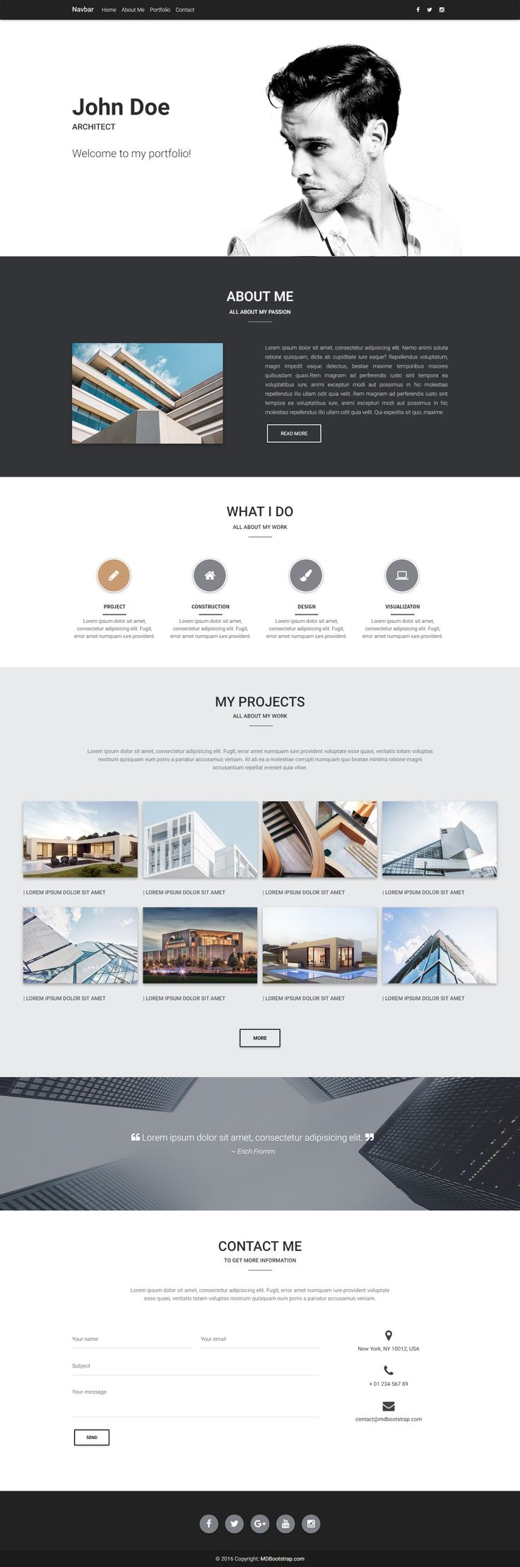 Fully responsive portfolio template, created for architects and related professions