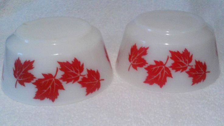 Vintage Hazel Atlas Set of 2 Red Maple Leaf Bowls Cottage Cheese Utility Cereal #HazelAtlas