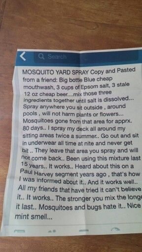 Keep mosquitoes away this summer with this DIY mosquito spray made of mouthwash, beer, and Epsom salt. Someone who tried this said this actually works well. Keep some in a spritz bottle under a chair or table for reapplications.