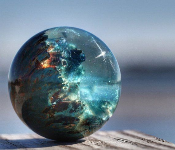 """Mother Earth Transparent Ocean Blue *High Quality* Collectors Marble 3//4/"""" +//-"""
