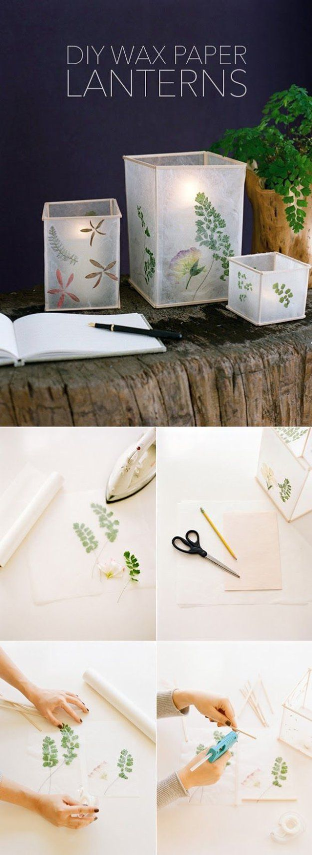 DIY Outdoor Lights Lantern Crafts | Wax Paper Lanterns by DIY Ready at http://diyready.com/21-diy-outdoor-lantern-ideas/