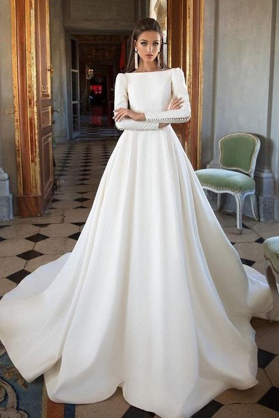 Simple Ivory Long Sleeves Satin A Line Wedding Dresses