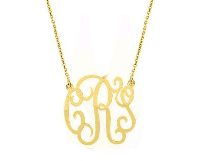 "Monogram necklace - personalize gold monogram necklace 1.25"" gold plated 18k on .925 silver on Etsy, $42.00"