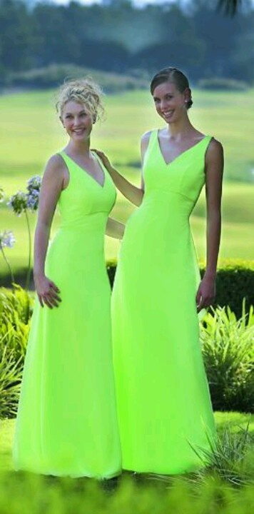 Neon green bridesmaid dresses -LMAO chrissy!!!!!!  these are just like the dresses from our wedding- but neon!