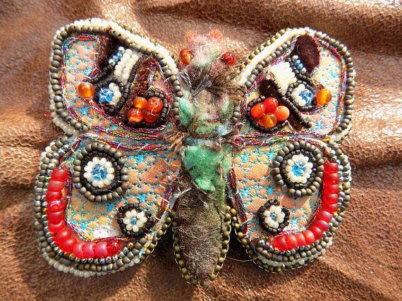 Bead Embroidery Moth Brooch